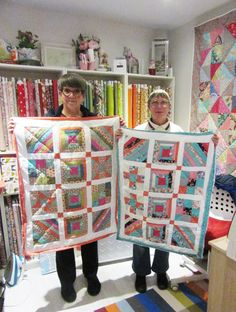 Angie & Rosemary with their Sampler Quilts, designed and made on the Beginners Patchwork course in Adaliza's studio in Winchester. Well done, girls - they're absolutely beautiful - stunning colours! Sampler Quilts, Winchester, Students, Colours, Blanket, Studio, Girls, How To Make, Beautiful