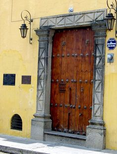 Door--very common in Antigua, Guatemala.  From the Colonial days--door knockers are high to accommodate men on horseback.