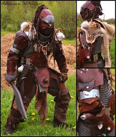 This is the fourth version of my main larp leather armor. Fantasy Armor, Medieval Fantasy, Medieval Fair, Fantasy Play, Fantasy Costumes, Cosplay Costumes, Character Inspiration, Character Design, Larp Armor