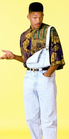 "Retro Fashion Will Smith as Will ""The Fresh Prince"" Smith - Photo of He can still rock a fresh pair of overalls and printed shirt. 80s Fashion Men, 1980s Fashion Trends, Grunge Fashion, 90s Fashion Overalls, 80s Fashion Party, 80s Fashion Style, 1990s Fashion Hip Hop, Black 90s Fashion, 90s Outfit Men"