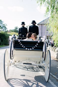 Horse & carriage wedding transport - Image by Camilla Arnhold Photography - Dorset rustic barn wedding with a pink peach and mint colour scheme, a vintage ice cream bicycle and Italian influences