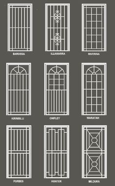 Our security doors and windows are custom made to suit your premises. We have a range of high strength steel security doors with optional fly screens. Home Window Grill Design, Grill Gate Design, Window Grill Design Modern, House Window Design, Balcony Grill Design, Steel Gate Design, Door Gate Design, House Gate Design, Railing Design