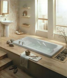 Beautiful zen-like bathrooms from Decorating Addiction.