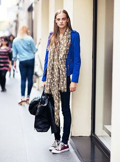 Printed scarf, skinny jeans, and Chuck Taylors