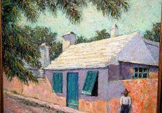 Rupert Scott Lovejoy (18885-1975) Oil Painting of Bermuda Cottage. #bermudaart #lushergallery