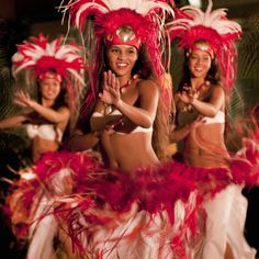 Tahitian dancers at a luau in Hawaii