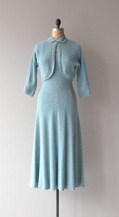 Something Blue knit dress vintage 1950s knit dress by DearGolden   50s dress + jacket