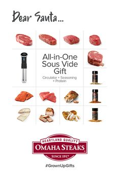 Tag someone who should take the hint. 😉 Give the *ultimate* this year — the Omaha Steaks Sous Vide Experience! Omaha Steaks, Holiday Gift Baskets, Experience Gifts, Christmas Gifts For Mom, Sous Vide, Corporate Gifts, Christmas Presents For Mum, Xmas Presents For Mum, Promotional Giveaways