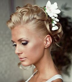 medium blonde straight wavy coloured bridal wedding updo hairstyles for women