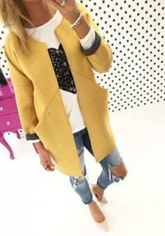 Yellow Plain Pockets Round Neck Long Sleeve Casual Coat