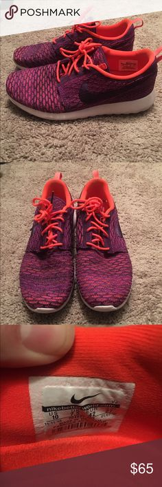 Size 10 flyknit Roshe. Excellent user condition Excellent used condition. Worn only a few times. Open to offers Nike Shoes Sneakers