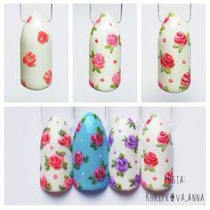 Мкногти, фото и видео уроки, маникюр's photos Flower Nail Designs, Flower Nail Art, Nail Art Designs, Pretty Nail Art, Beautiful Nail Art, Nail Art Diy, Diy Nails, Shabby Chic Nails, Vintage Nail Art
