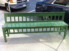 Vintage Antique Primitive Bench Old Green Paint Circa 1910 via Etsy