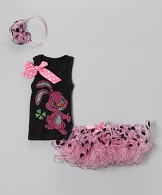 This So Girly & Twirly Black & Pink Clover Bunny Tank Set - Toddler & Girls by So Girly & Twirly is perfect! #zulilyfinds