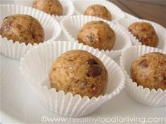 "Healthy Peanut Butter Chocolate Chip Cookie Dough ""Truffles"""