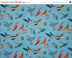 Colorful Tiny Hummingbirds Print by fabricsandtrimmings
