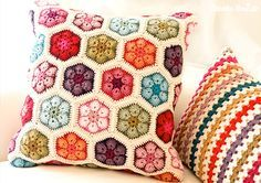 so many started crocheting with this pattern....so many different interpretations by now...it never fails......Crochet pillows - beautiful inspiration.
