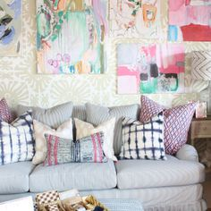 Primmy Slipcovered Sofa At Furbish Studio + Pattern Play Pillows