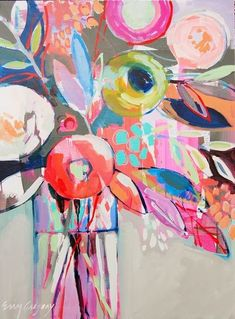 Erin Fitzhugh Gregory  Painterly - brush marks here adding other patterns in! combinations!