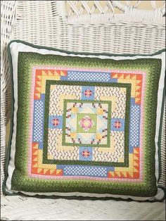 The mandala feel to the design of this pillow is suitable for many types of decor. Working over three threads of fabric gives a different stitching experience! Stitch Count: 94 wide x 94 high.  Skill Level: Average