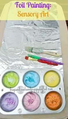 Foil Painting: Sensory Art by FSPDT one of our top 2013 art activities for kids. Fun stuff for kids on this site! Toddler Crafts, Preschool Activities, Crafts For Kids, Arts And Crafts, Art Activities For Kids, Baby Crafts, Preschool Color Crafts, Art Projects For Toddlers, Toddler Painting Activities