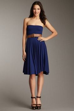 Blue Off-The-Shoulder Dress.