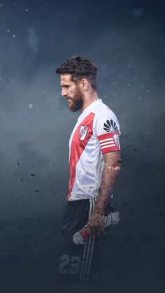 Capitán😻😻 Messi And Ronaldo, River I, Neymar Jr, Football Players, Football Jerseys, Bearded Men, Carp, Gaston, Real Madrid