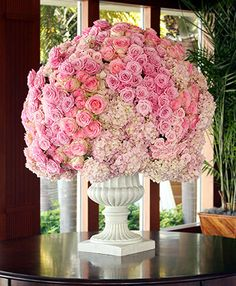 even with easy access to the flower market, this arrangement is steep...hydrangeas and roses, BEAUTIFUL!
