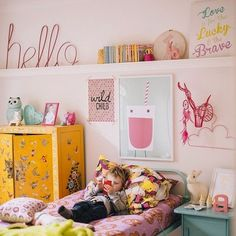 Colorful kids room with Down to the Woods products, via hailsandshine. I like the picture rail/shelf idea Casa Kids, Deco Kids, Little Girl Rooms, Kid Spaces, Kids Decor, Girls Bedroom, Room Inspiration, Room Decor, Home