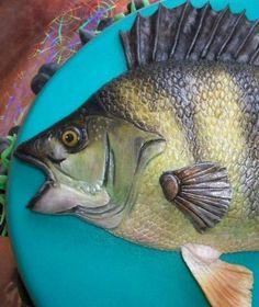 Poklon ribar - kolač s smuđ ljepilom Sculpted Cakes, Animals, Fishing, Food, Cupcake, Decorating, Summer, Gone Fishing, Fish