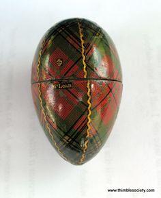 Tartan ware egg thimble holder