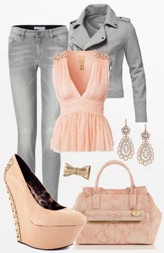 LK- Grey & Pastel outfit, rebelish yet girly.