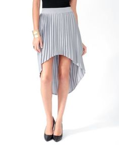 Forever-21-Pleated-High-Low-Skirt-in-Gray-Silver-size-XS #ebay #skirt #Forever21 #thrift #secondhand #highlow #spring #summerfashion