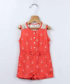 Red Anchor Romper - Toddler & Girls | zulily