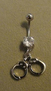 small silver double handcuff belly ring   $7  FREE SHIPPING!