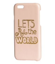 Hard smartphone case in plastic and imitation leather with an embossed text motif. Fits iPhone 6.