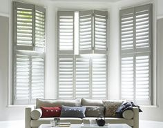 I would love plantation shutters for my living room window.whether it's a bay window or not. Wooden Window Shutters, White Shutters, Interior Window Shutters, Wooden Windows, Interior Windows, Indoor Shutters For Windows, Modern Shutters, Bedroom Shutters, Windows