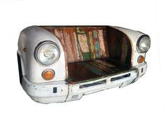 Einzigartige Vintage zurückgefordert Möbel Mango Holz Retro Sofa Stuhl Auto Bank Sofa Couch Handmade Shabby Chic industrielle Mann Höhle rustikal