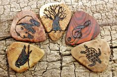 SALE: Buy 4 Get the 5th one FREE - Custom Wooden Guitar Picks - (Choose Wood Type and Design)  Check it out at my shop on Etsy.com: (CLICK THE LINK BELOW)  https://www.etsy.com/listing/160237374/sale-buy-4-get-the-5th-one-free-custom?ref=pr_shop