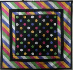Vintage 1980 s Purple, Pink, Yellow, Green & Black Spot & Stripe Cotton Scarf