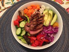 Grass-fed Steak Salad Loaded with Veggies and  Drizzled with Southwestern Vinaigrette (EVOO, red wine vinegar, fajita seasoning, agave, pink Himalayan salt and pepper) #healthy #mediterranean #glutenfree #caseinfree #realfood #cleaneating
