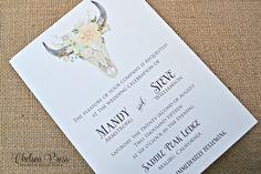 Boho watercolor floral skull PRINTED wedding by ChelseaPress on Etsy
