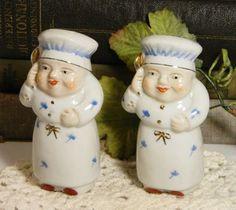 Vintage Salt Pepper Shakers Cooks Chefs Bakers White Blue Porcelain Set