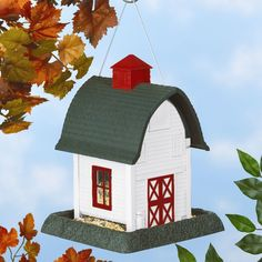 Small White Barn Decorative Bird Feeder