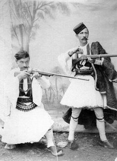 Men from Epirus, Greece, late early c. Greek Traditional Dress, Traditional Outfits, Albanian Culture, Ancient Greece, Historical Clothing, Vintage Photography, Greek Costumes, Men's Costumes, The Past