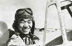 Saburo Sakai in the cockpit of Mitsubishi A5M.