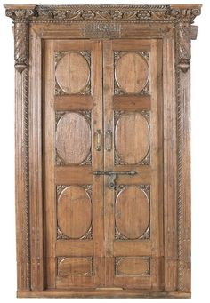 Stunning Carved Antique Ornate Wood  Door w/Frame,56'' x 95''H.