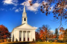 $32.00 Autumn in Sturbridge #Sturbridge #Church #Religious #Autumn #Fall #AutumnInNewENgland #FallScenes #AutumnScenes