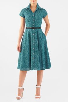 I this Fish print cotton fit-and-flare belted shirtdress from eShakti Modest Dresses, Simple Dresses, Pretty Dresses, Beautiful Dresses, Casual Dresses, Short Sleeve Dresses, Dress Outfits, Fashion Dresses, Women's Fashion