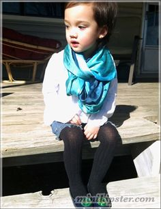 My daughter!    Gap shoes & shirt  DYI Cut off denim shorts  Black tights  thrifted scarf